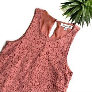 Annabella Pink Sleeveless Lace Overlay Mini Dress
